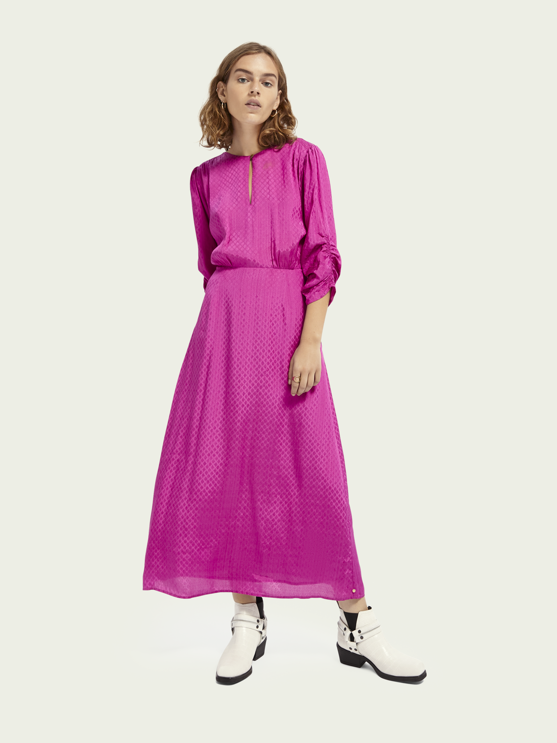 Women Jacquard gathered sleeve midi-dress