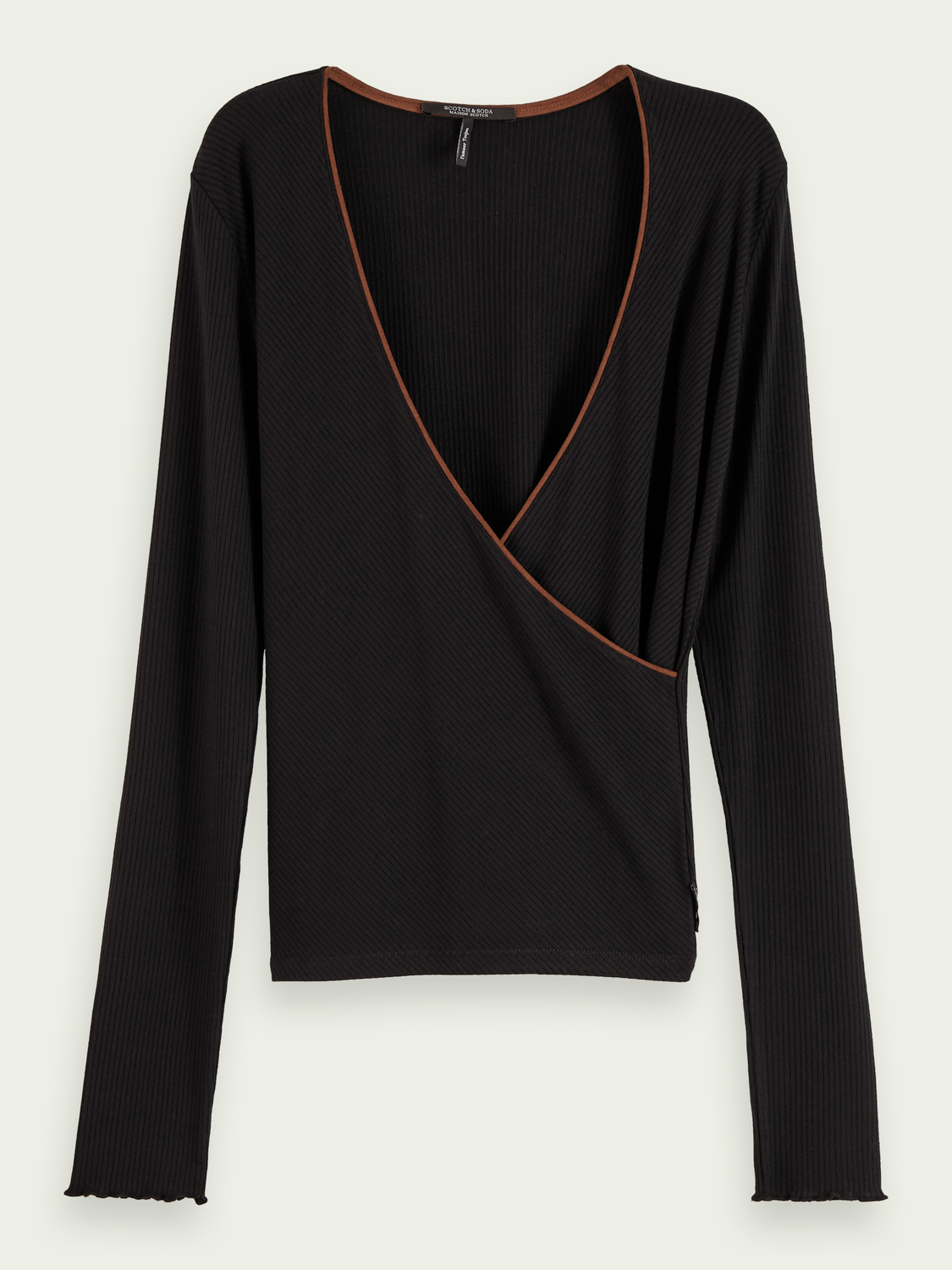 Women Long sleeve crossover t-shirt with contrast detail