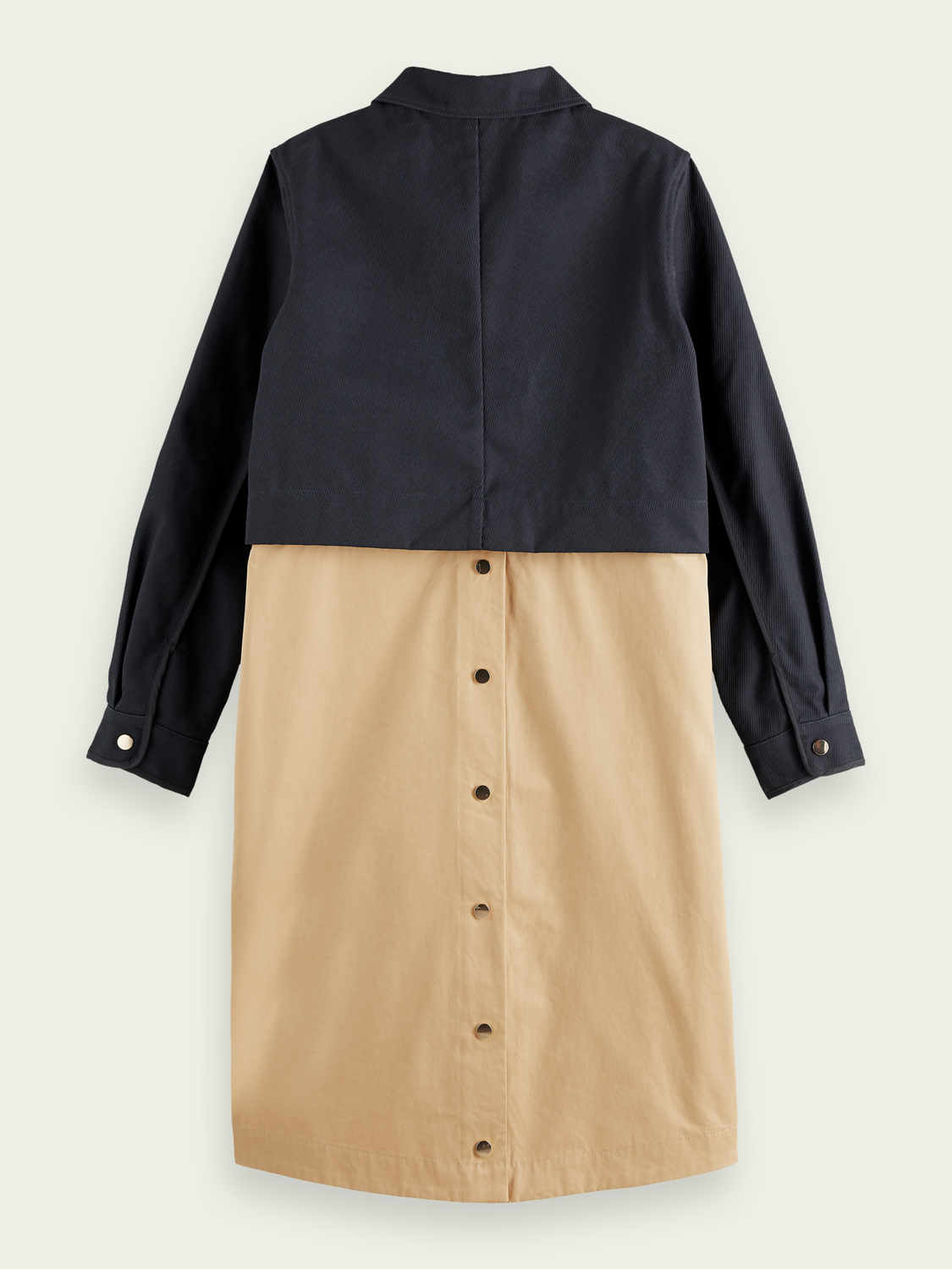 Women Long cotton-blend colour-block coat