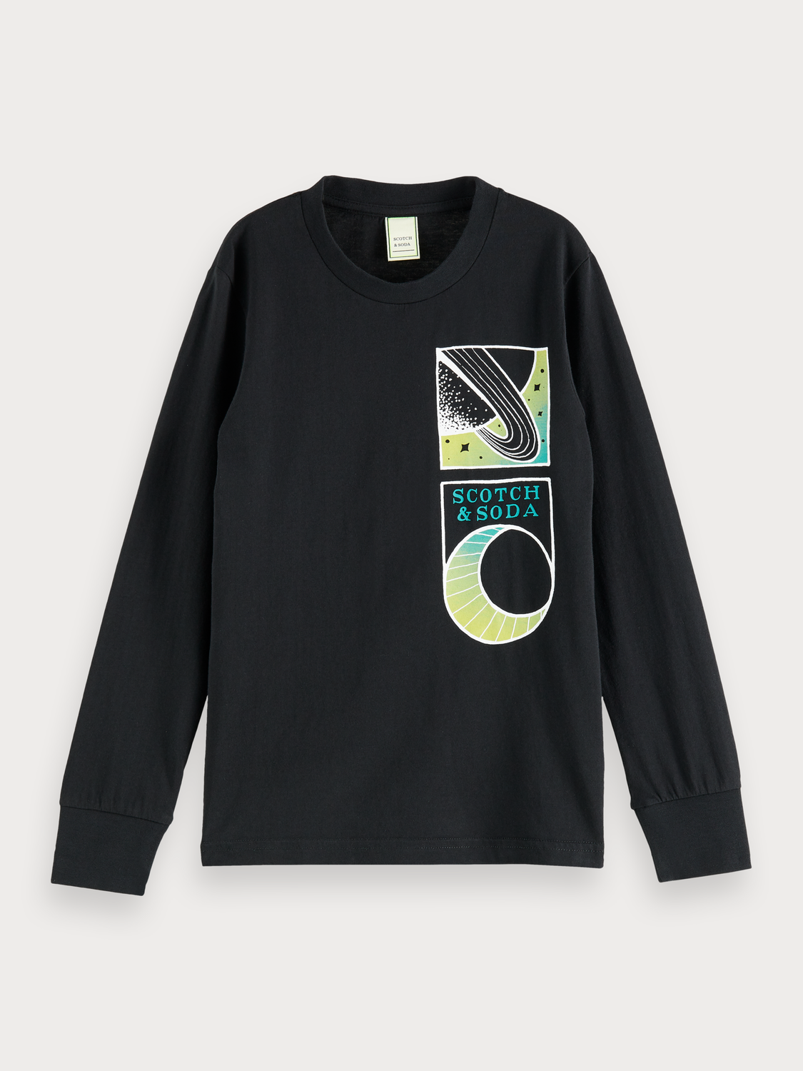 Boys 100% cotton long sleeve t-shirt with placed artwork