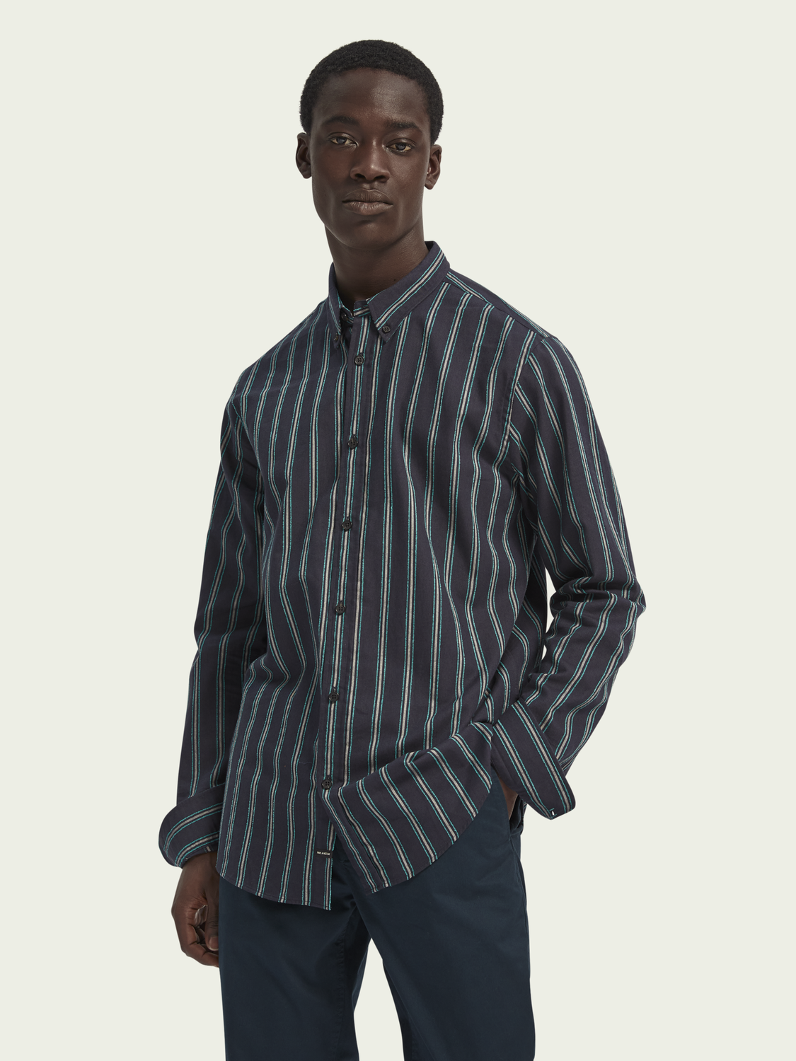 Men Cotton-blend yarn detail shirt