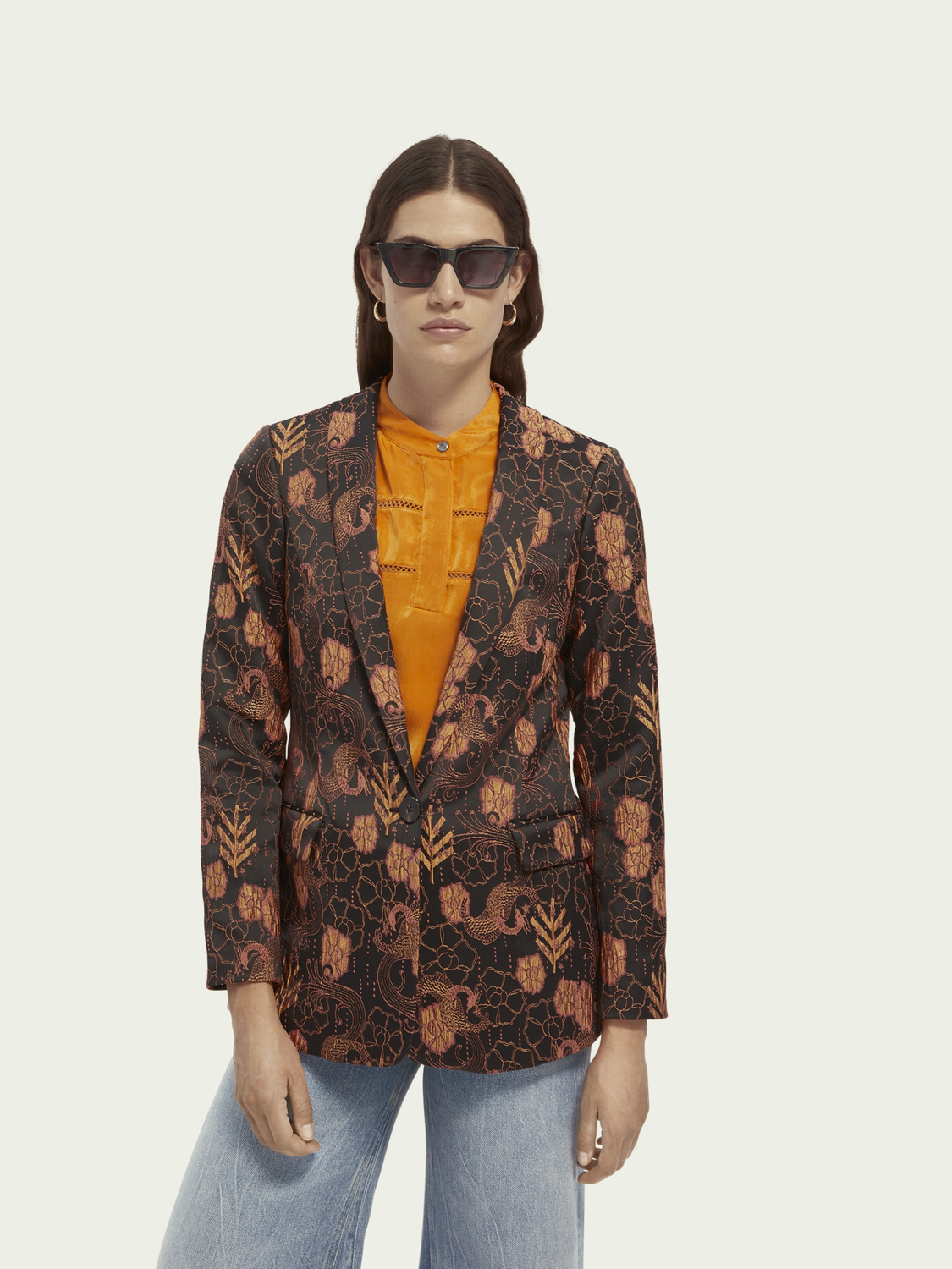 Women Single-breasted floral blazer
