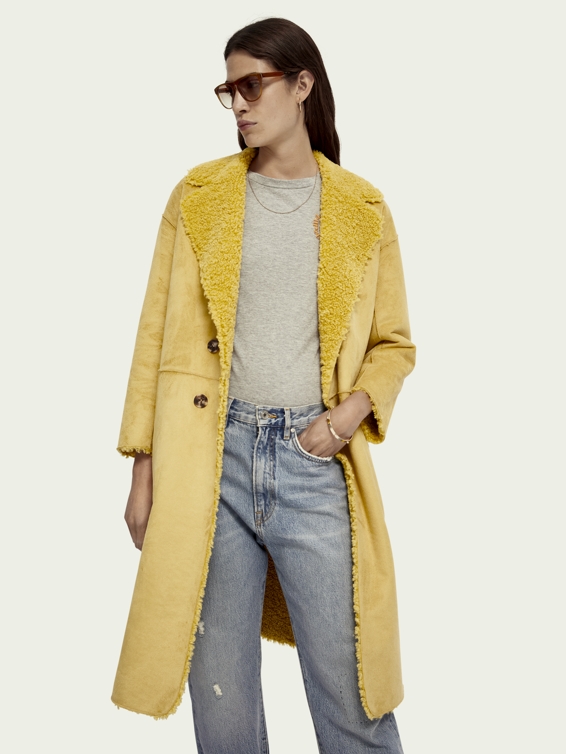 Women Long reversible teddy jacket
