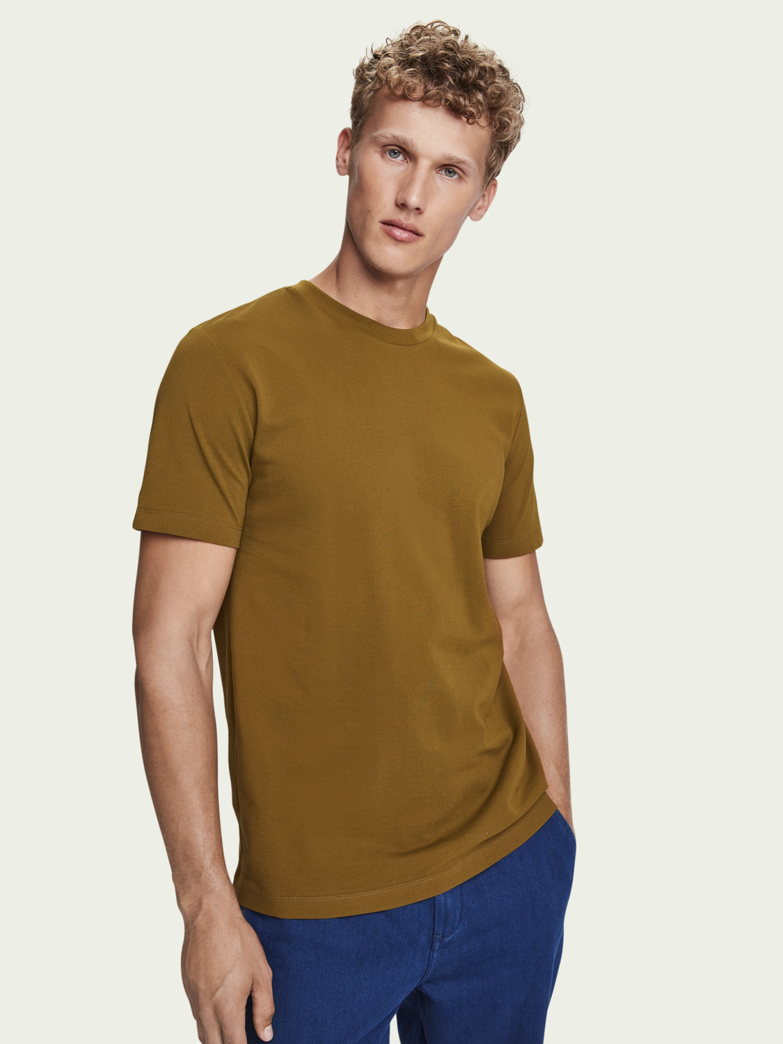 Men Cotton short sleeve crewneck t-shirt