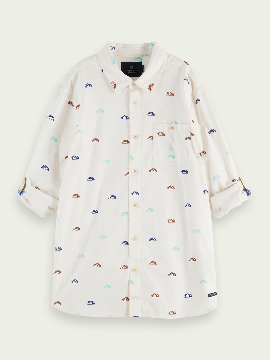 Boys 100% cotton rolled sleeve oxford shirt