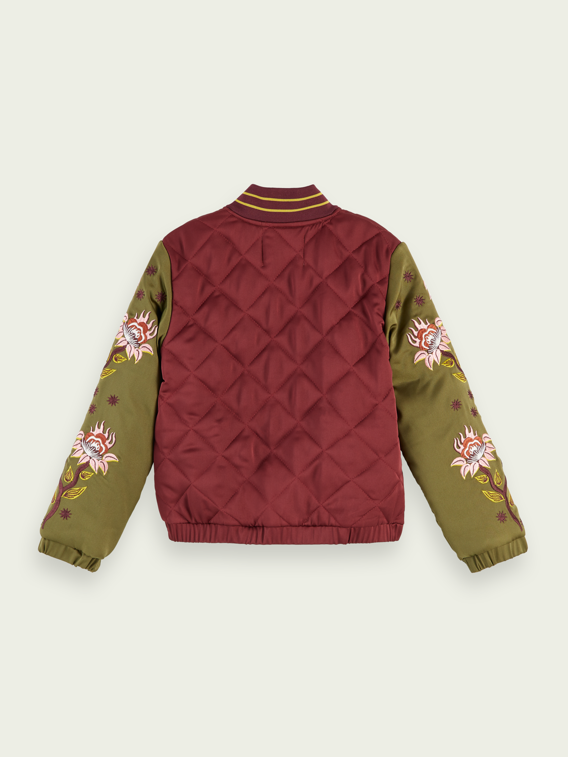 Girls Quilted embroidery bomber jacket