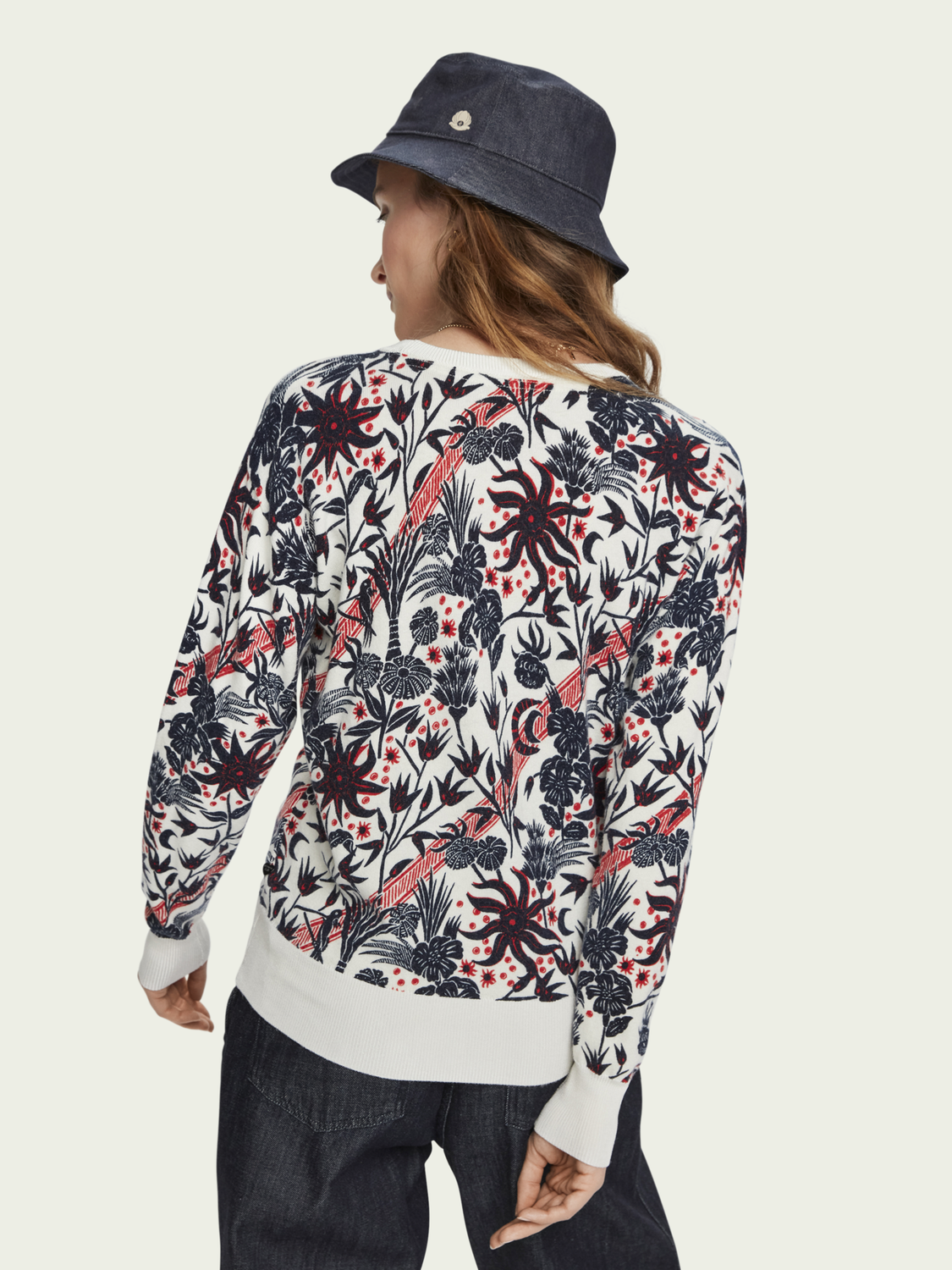 Women Cotton-wool blend printed pullover