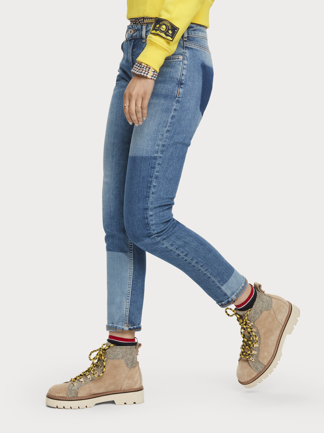 Damer The Keeper - City Patchwork | Jeans med mid-rise slim fit