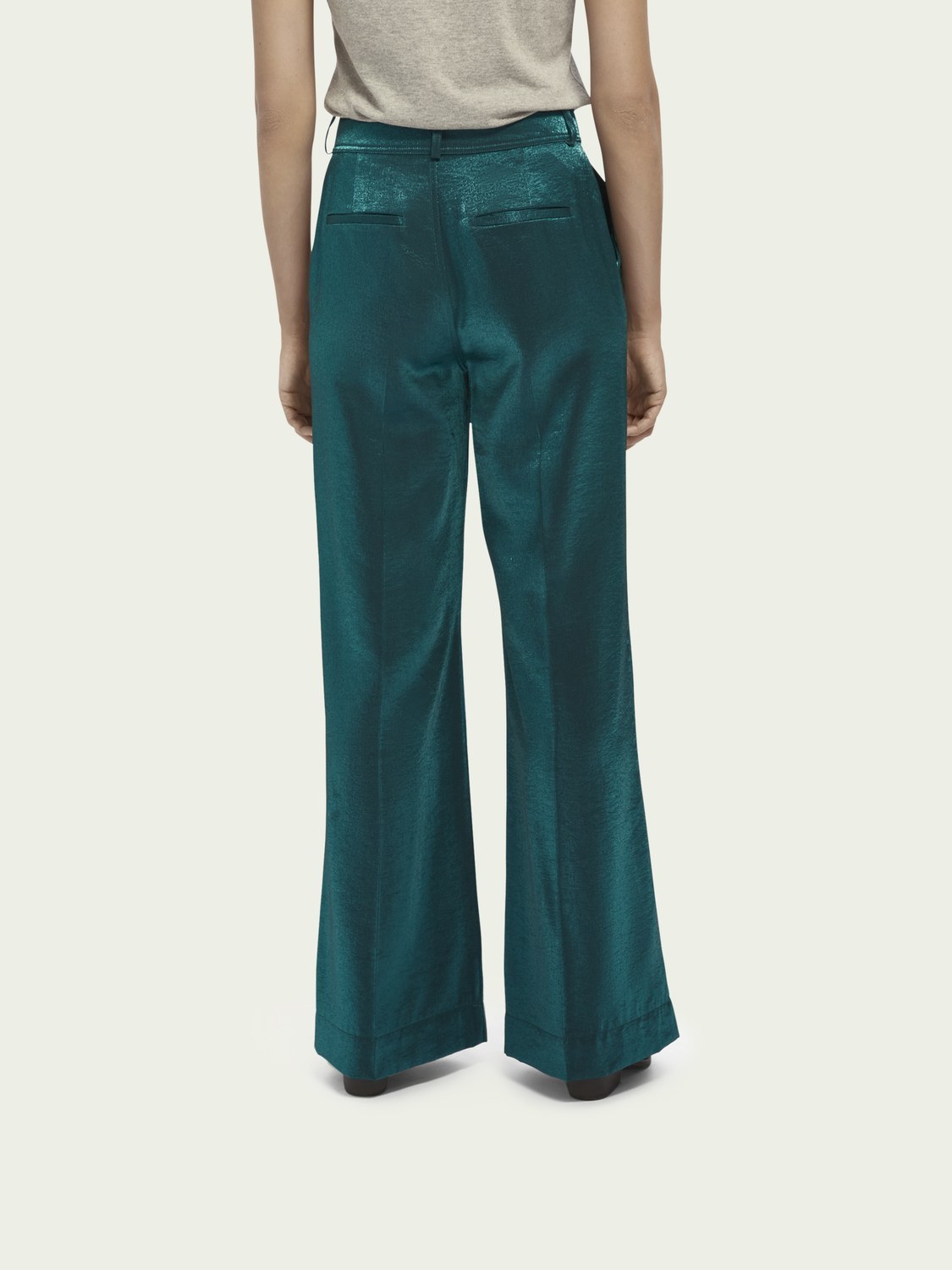 Women High waist wide leg metallic pants