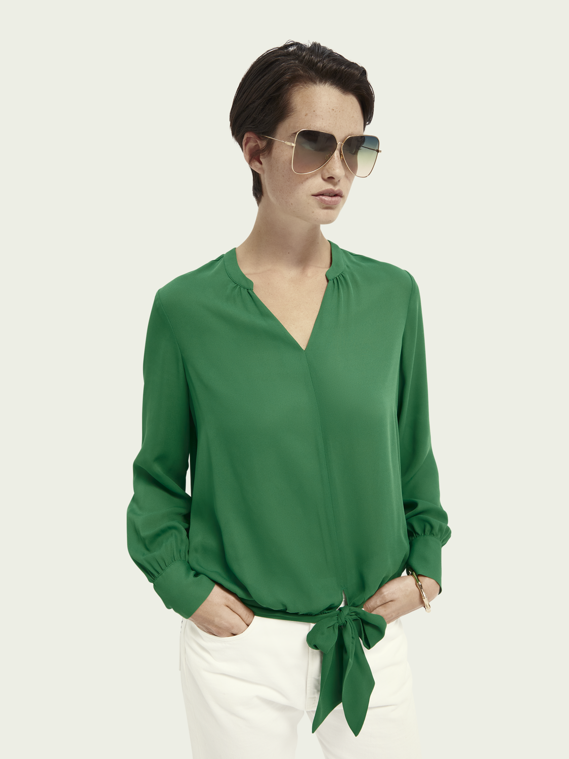 Women V-neck top with tie detail