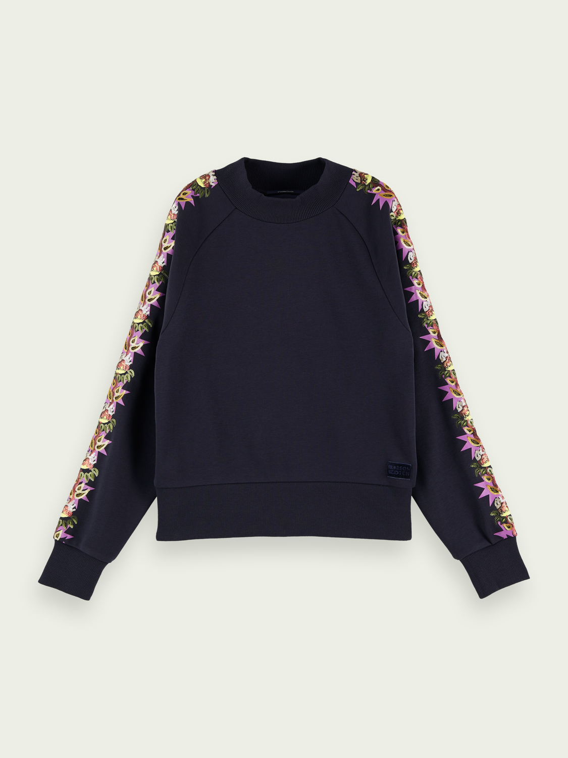 Women Cotton-blend high neck sweatshirt with arm detail