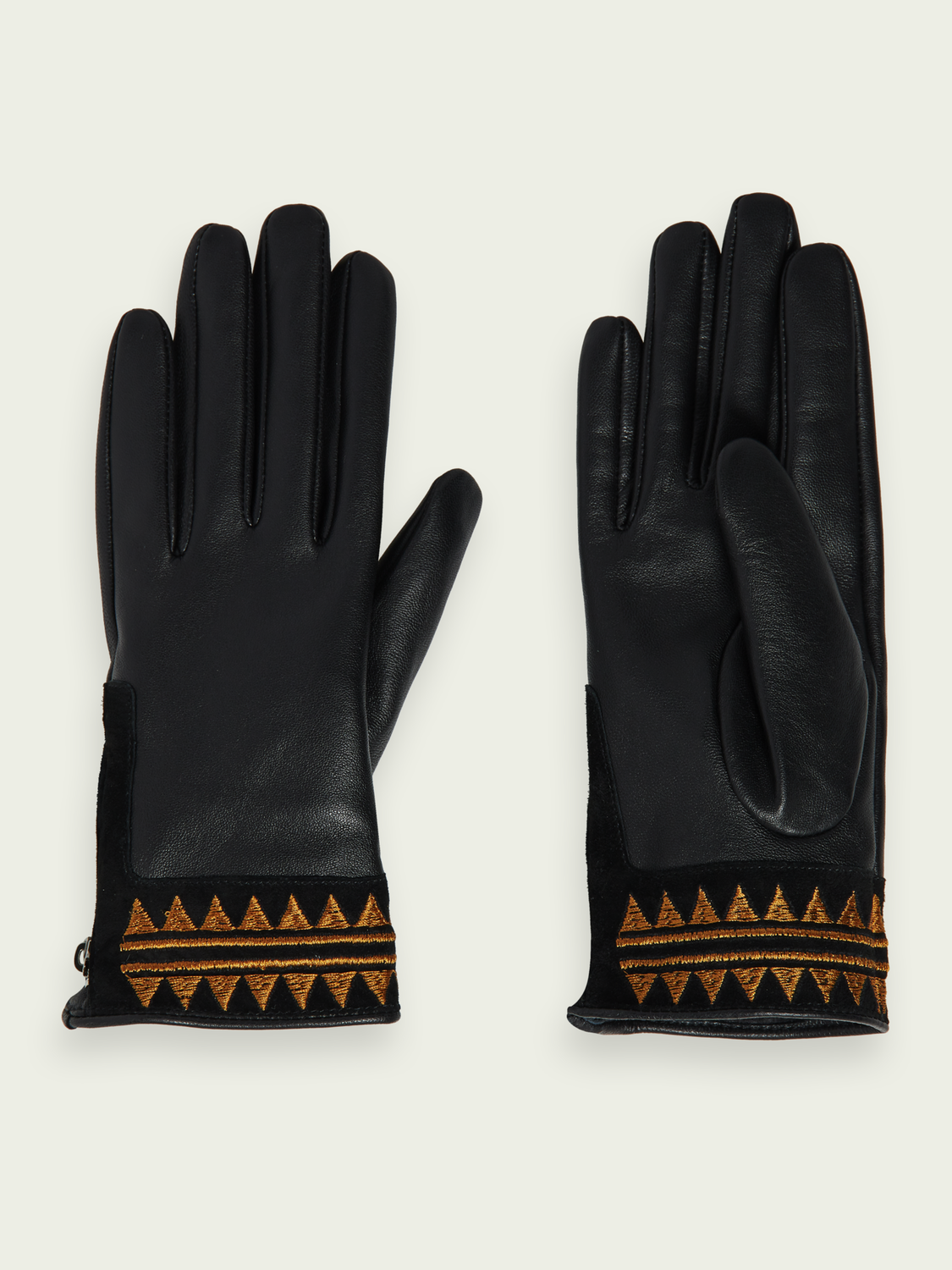 Women Embroidered leather gloves