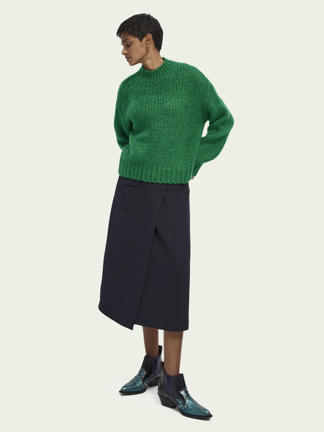 Women Chunky knit turtleneck pullover