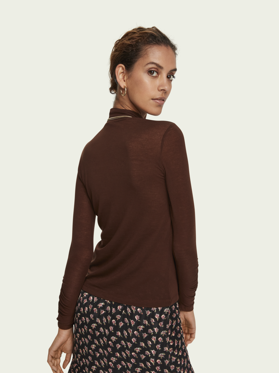 Women TENCEL™ gathered sleeve turtleneck