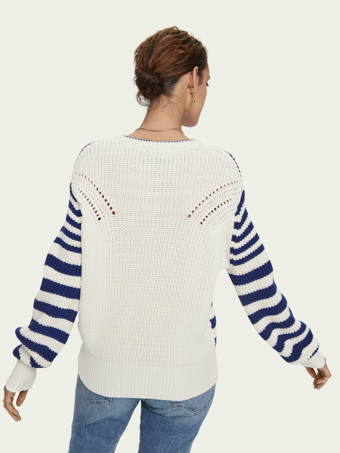 Women Cotton-blend chunky knit long sleeve sweater