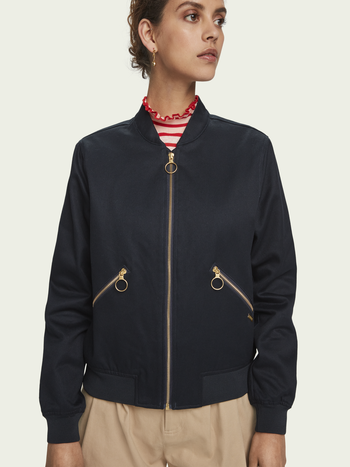 Women 100% cotton bomber jacket