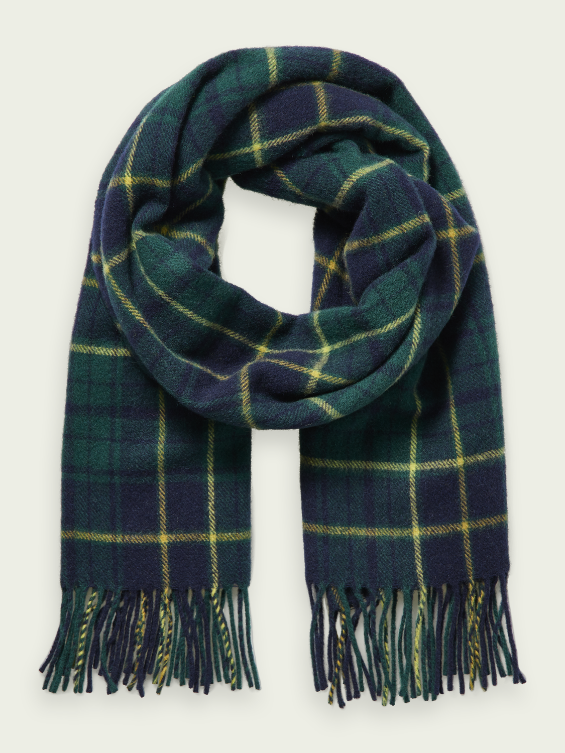 Men Soft wool-blend checked scarf
