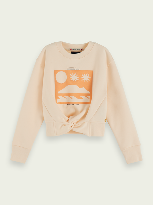 Scotch & Soda COTTON-BLEND KNOT-FRONT CROPPED SWEATSHIRT