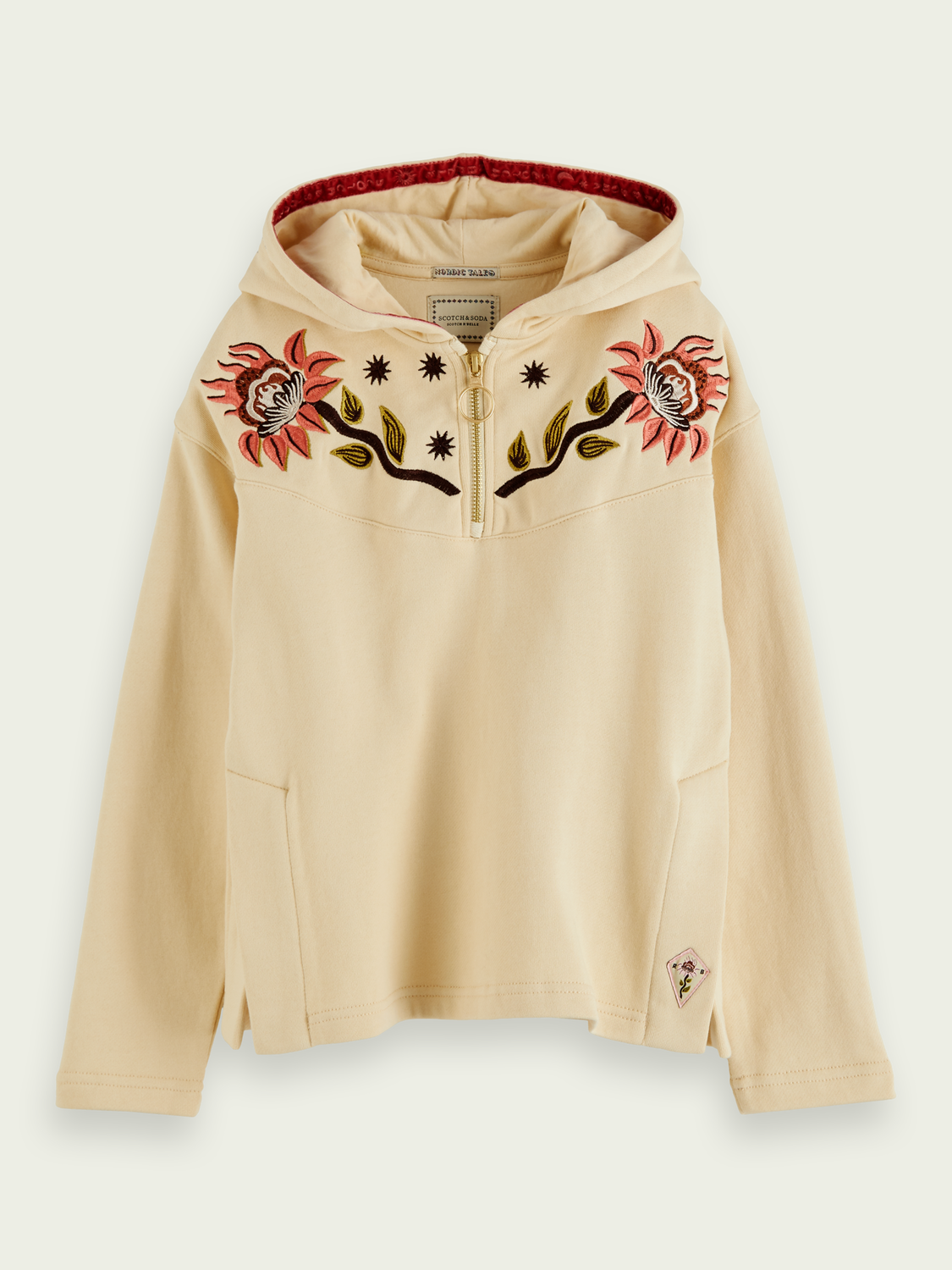 Girls Embroidered boxy fit cotton hoodie