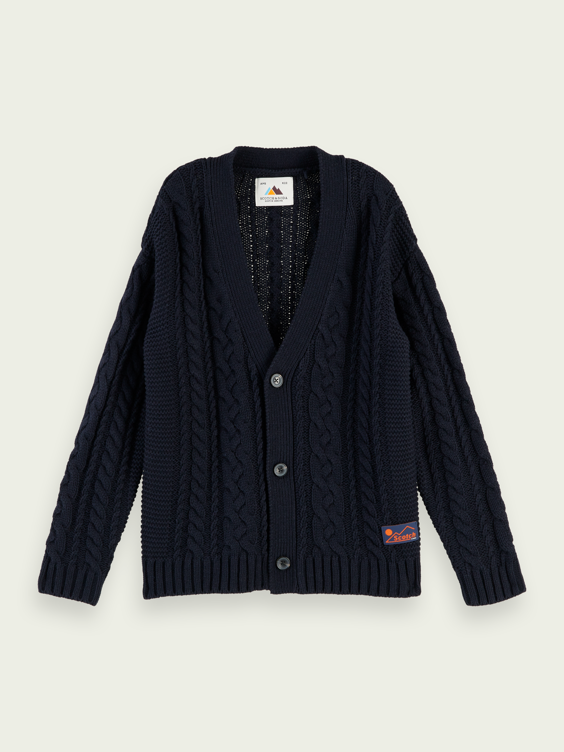 Boys Oversized cable knit cardigan