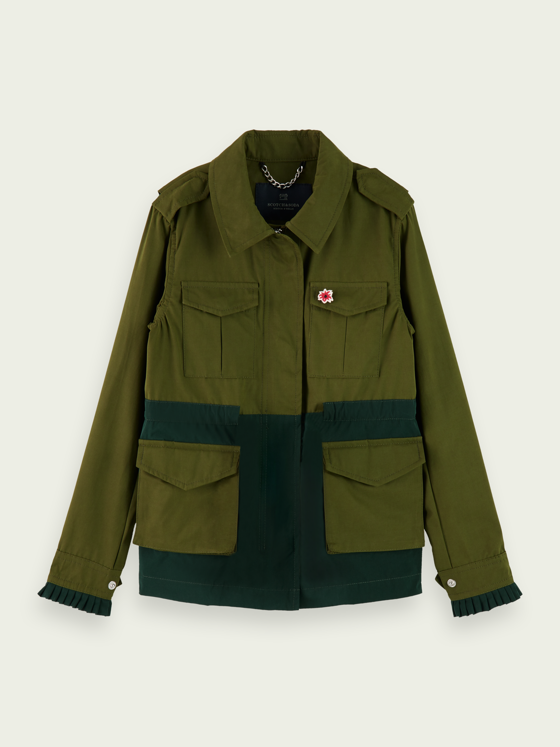 Kids Two-tone cotton-blend field jacket
