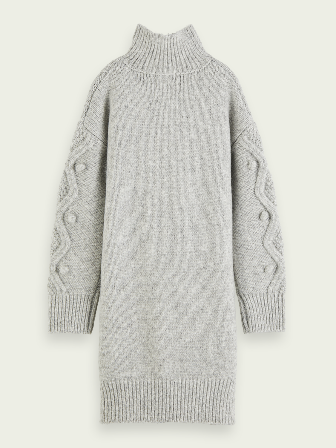 Kids Long sleeve wool-blend cable knit midi dress