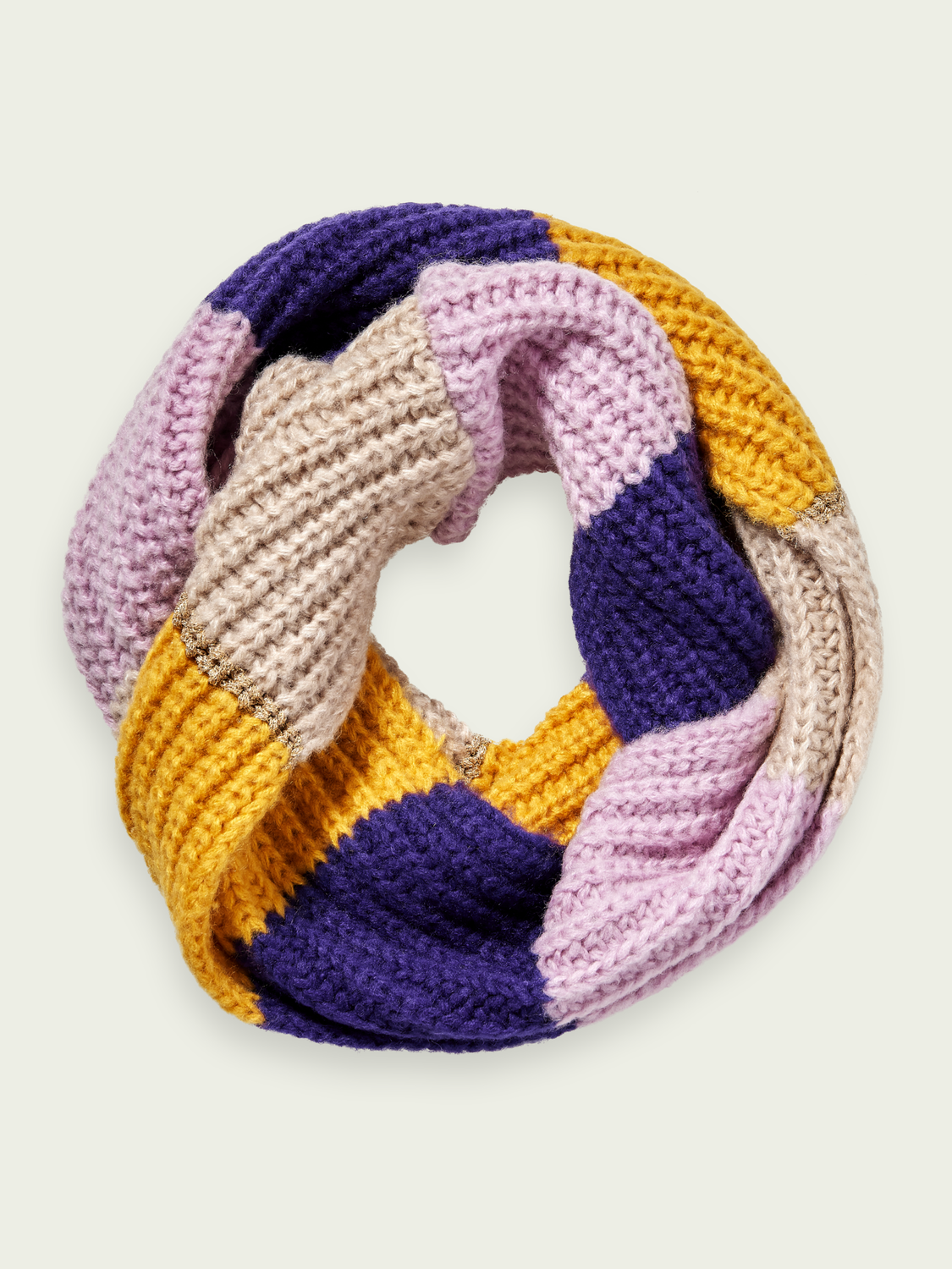 Girls Chunky knit wool-blend colour block tunnel scarf