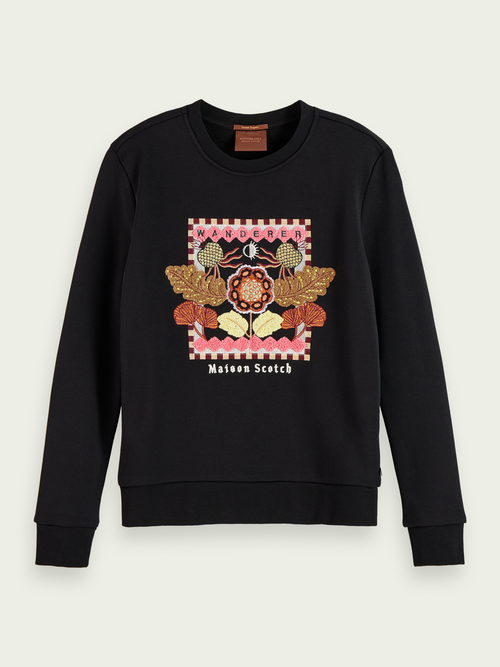 Scotch & Soda EMBROIDERED COTTON-BLEND SWEATSHIRT