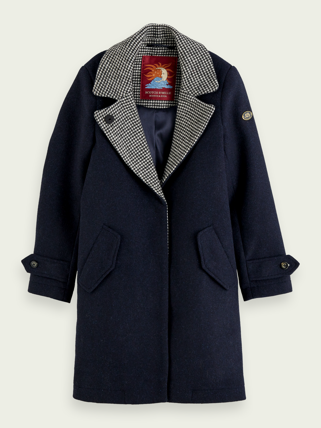Kids Long coat with checked collar detail