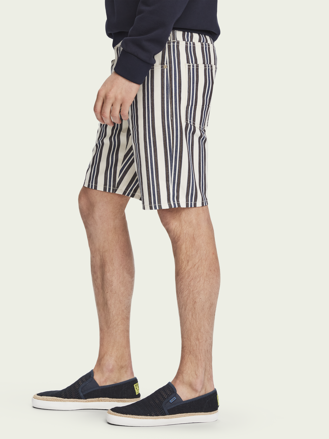 Heren Ralston Short - Stripe out | Mid rise slim fit
