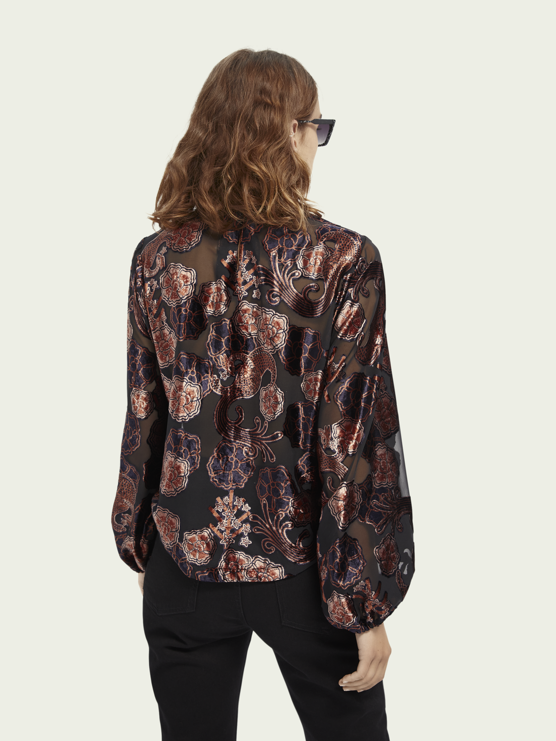 Women Long sleeve sheer velvet top