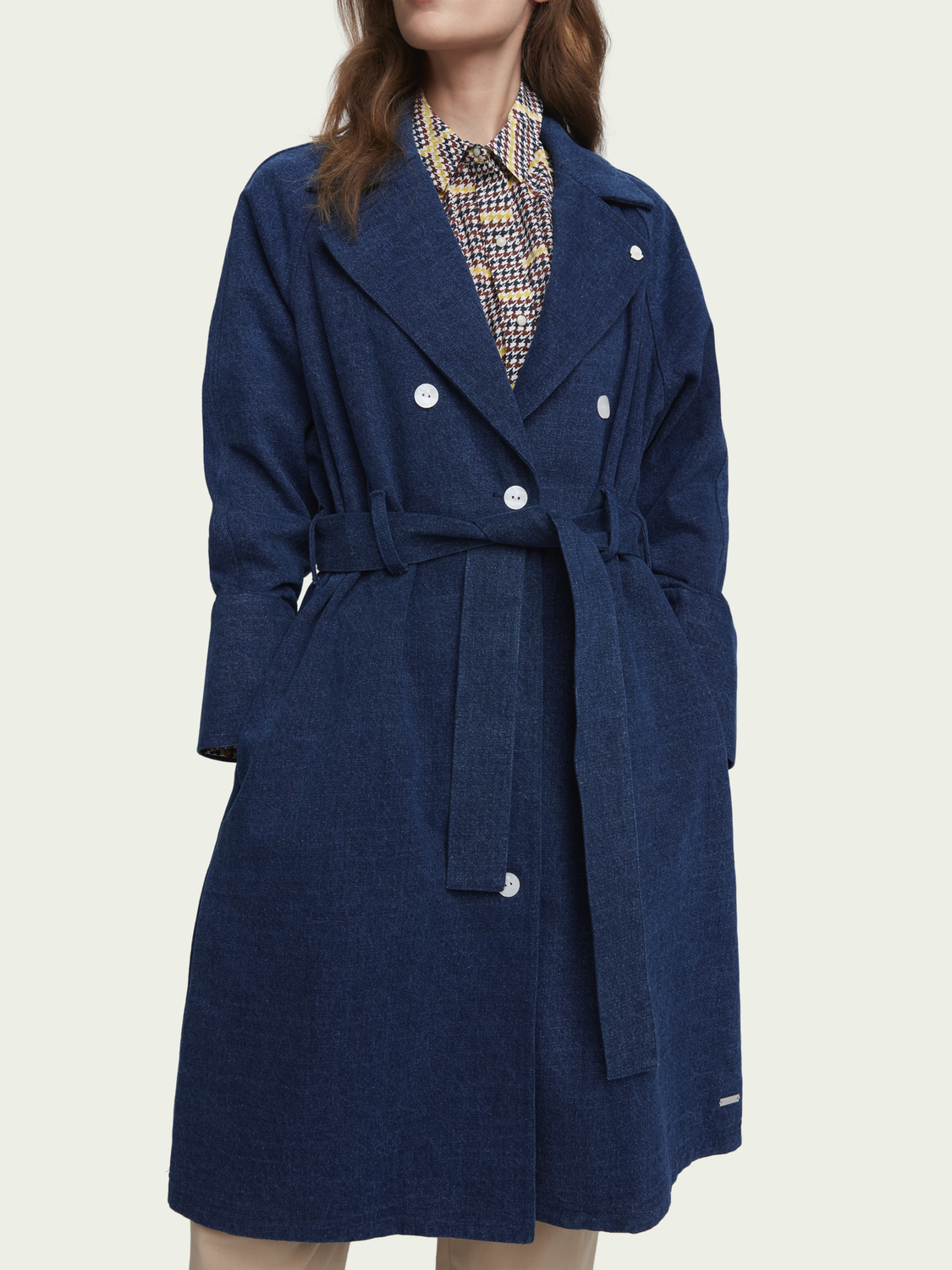 Women Long belted denim trench coat