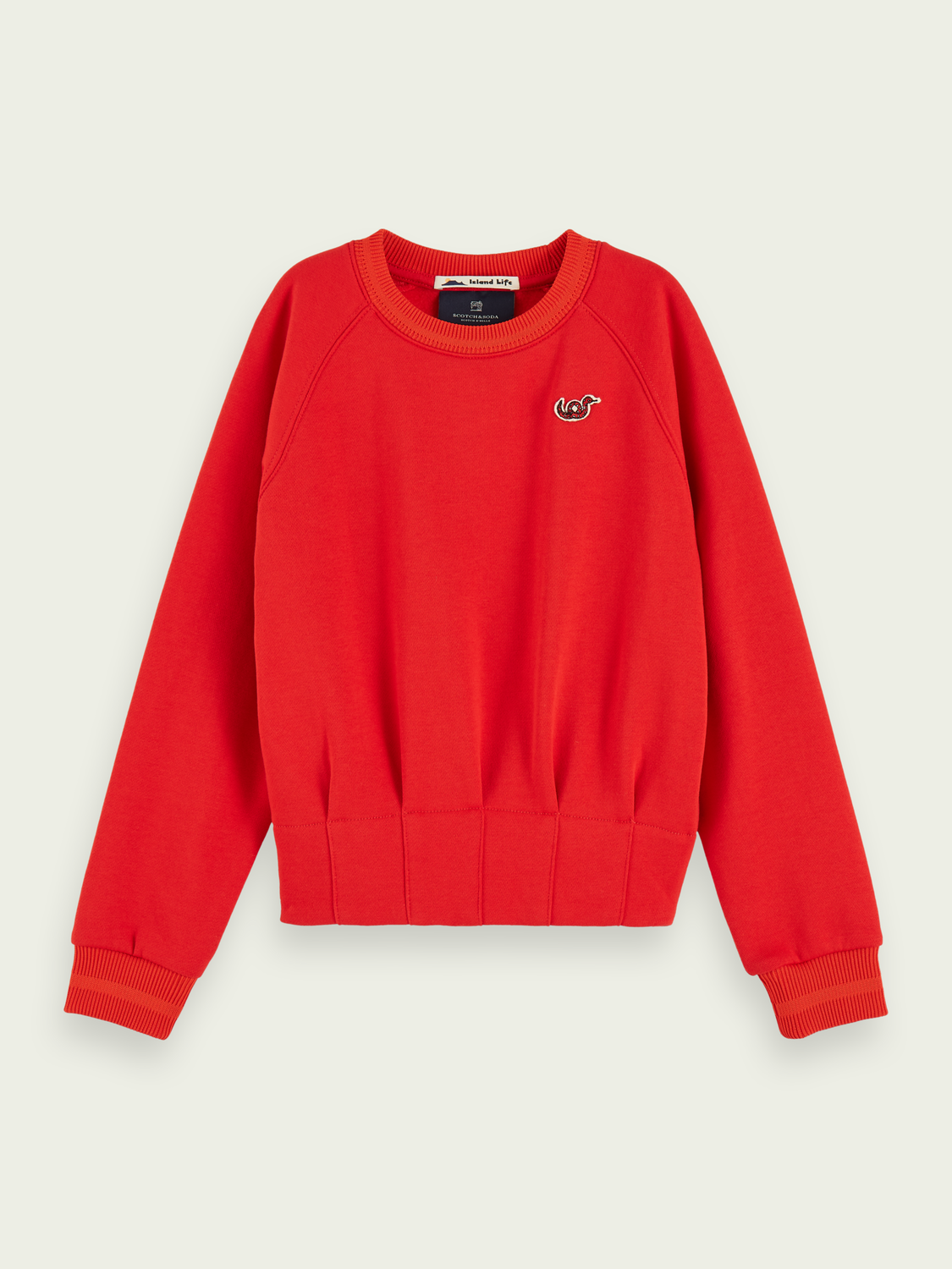 Kids Pleated waist crew neck sweatshirt