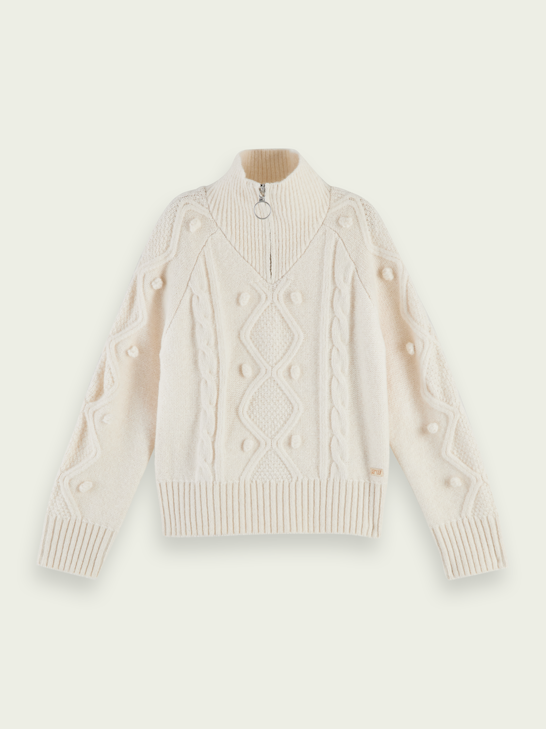 Girls Half-zip cable knit pullover