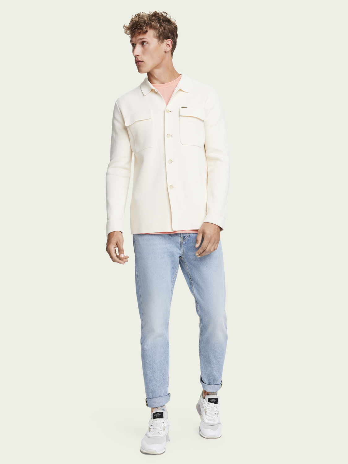 Men Cotton-blend knitted overshirt