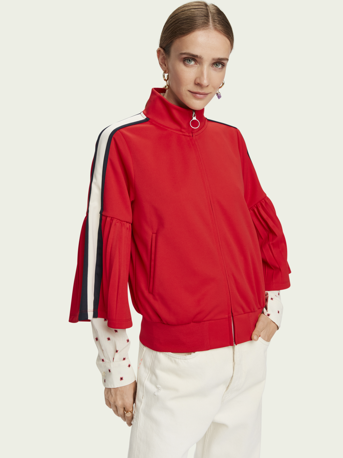 Women Sporty pleated-sleeve track jacket