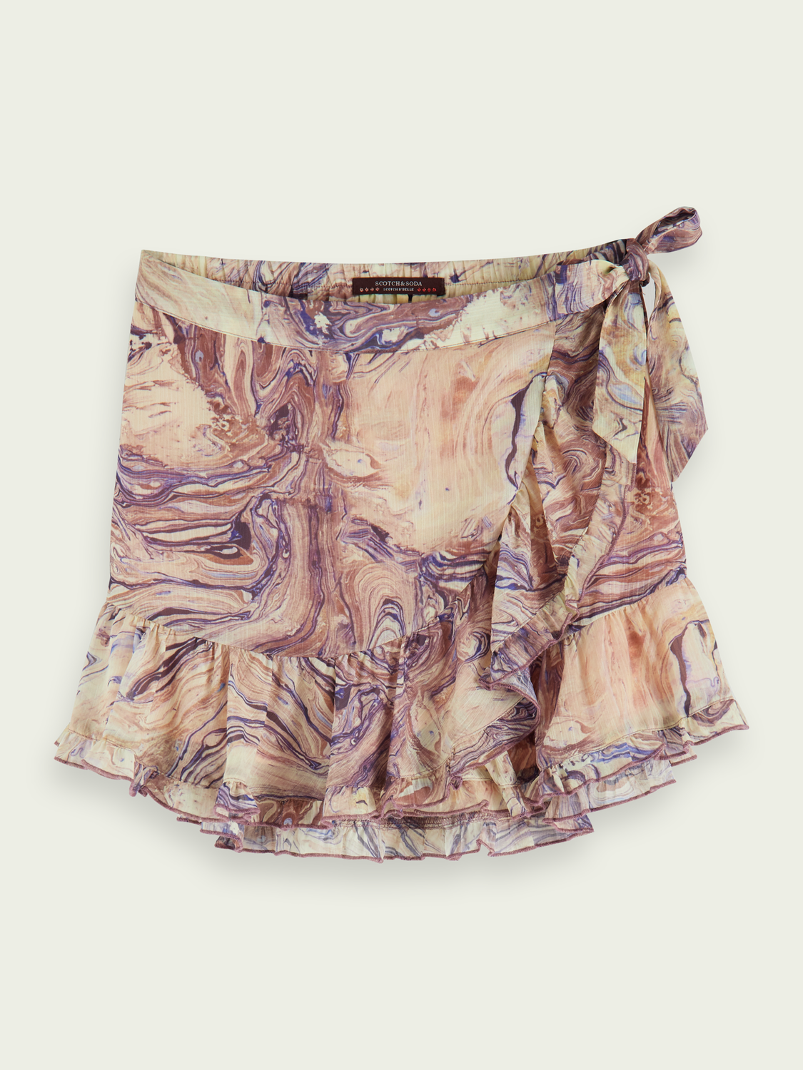 Kids Marbled wrap around mini skirt