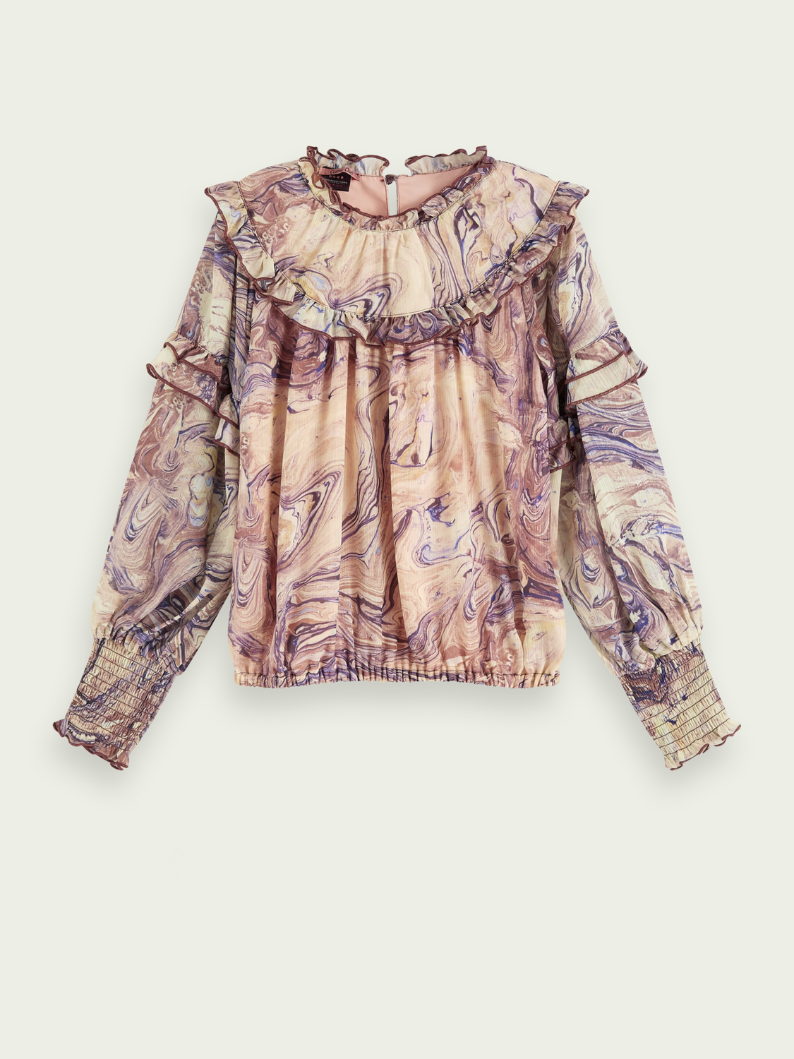 Kids Marbled long sleeve ruffle  top