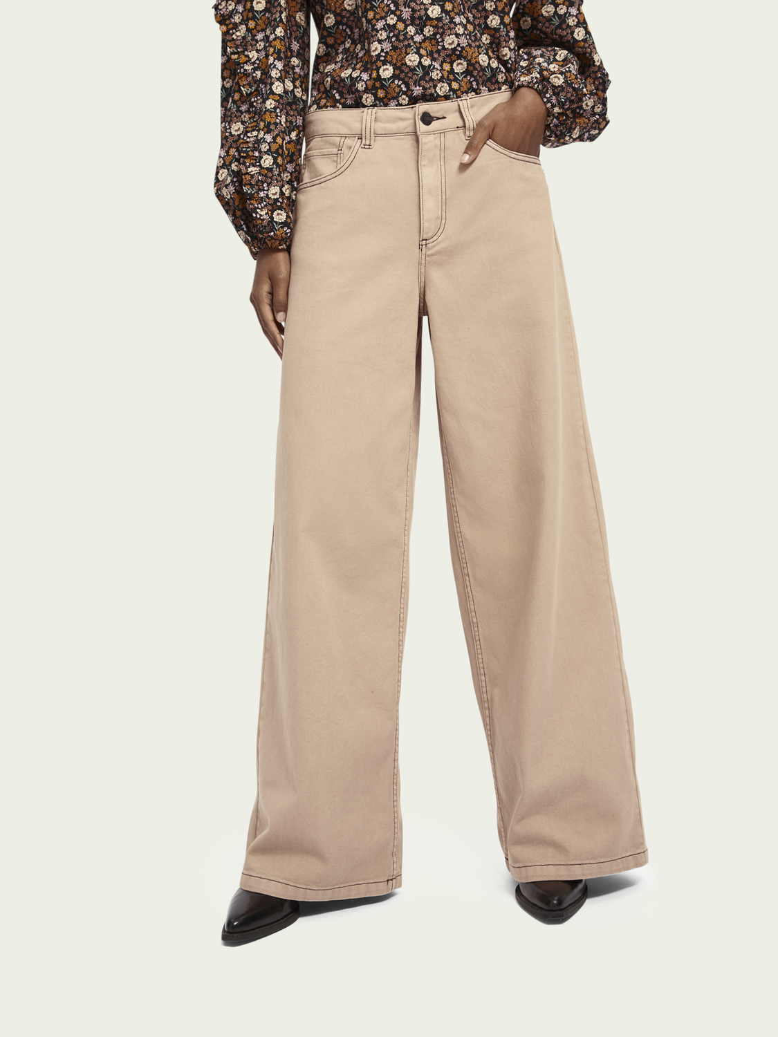Women Twill wide leg pants