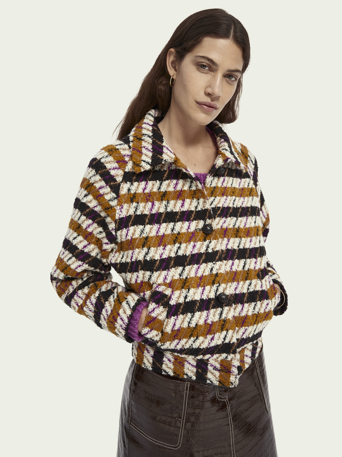 Women Wool-blend houndstooth jacket