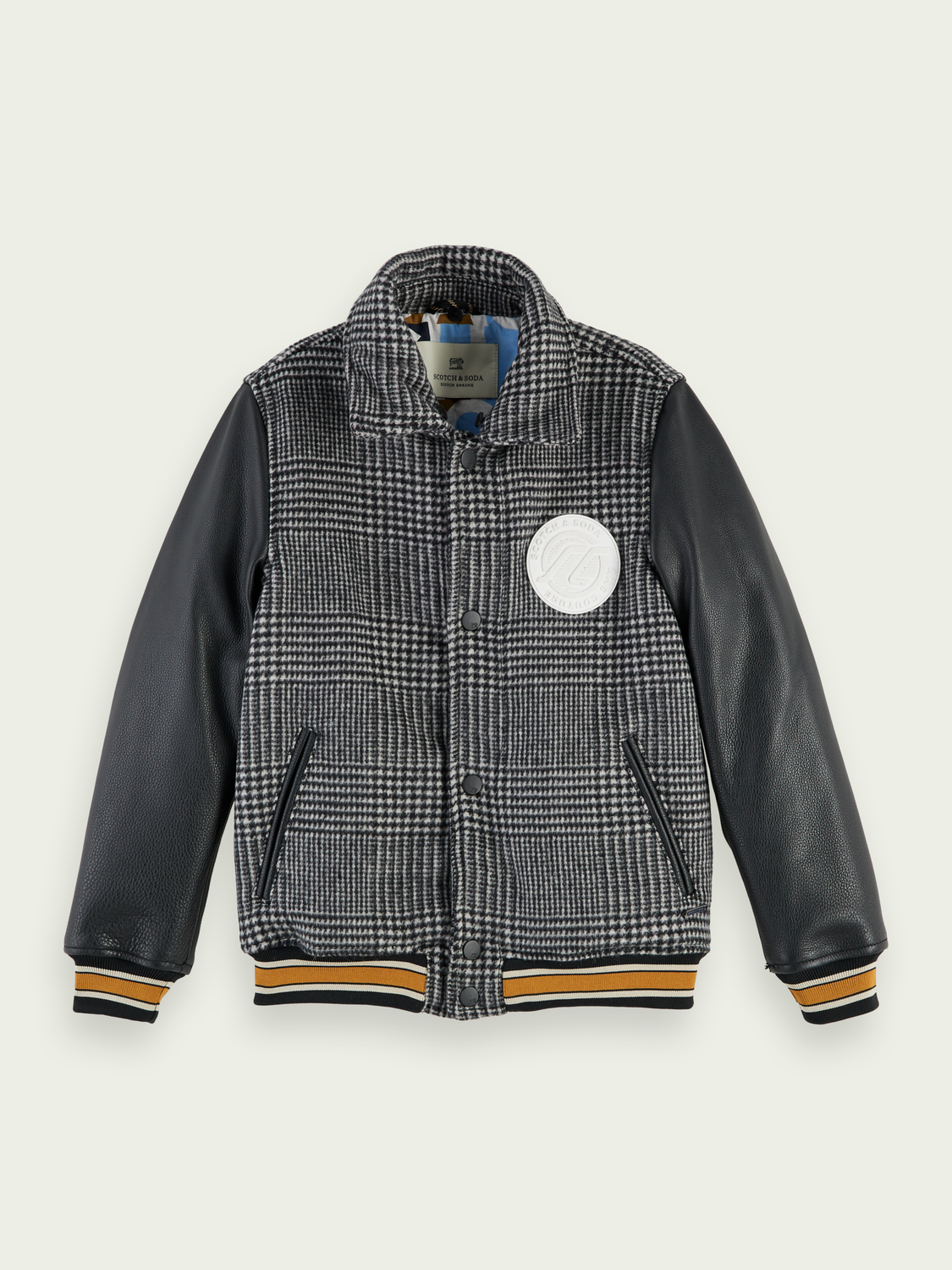 Kids Checked leather-wool college jacket