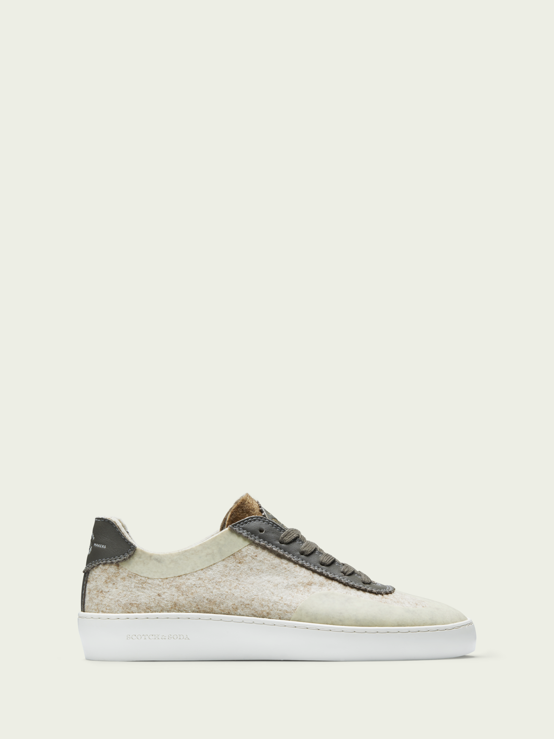 Men Plakka - lace-up felt and leather sneakers