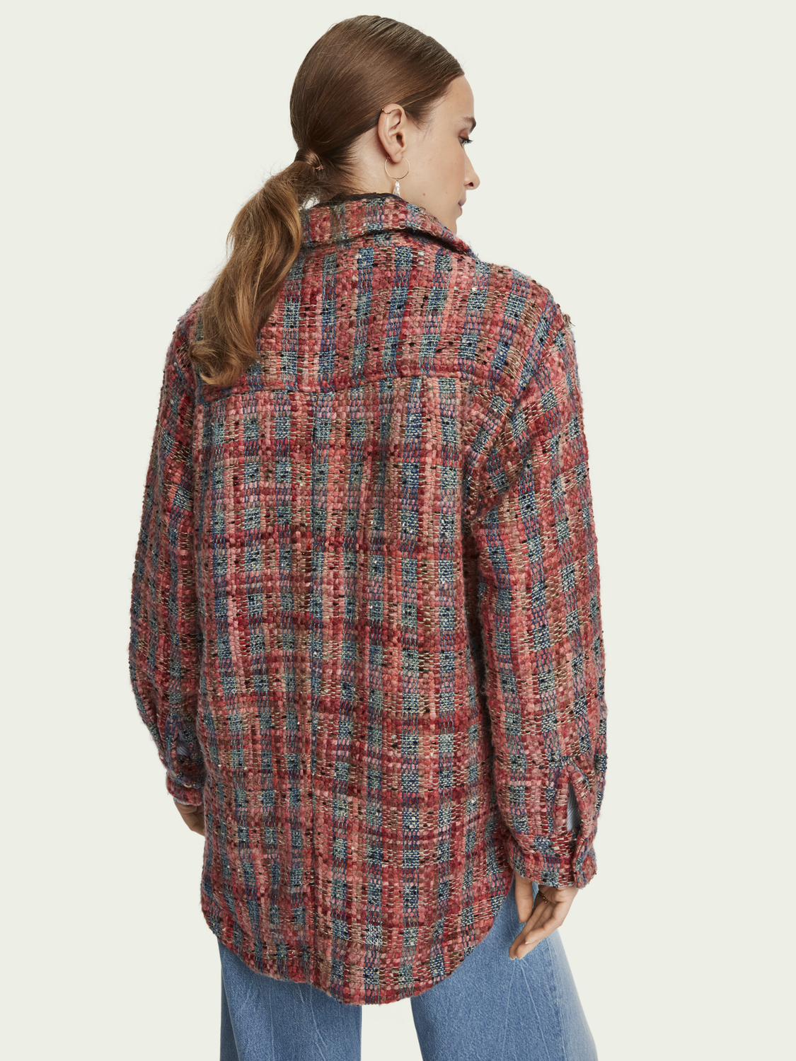 Damen Wool-blend tweed shirt jacket