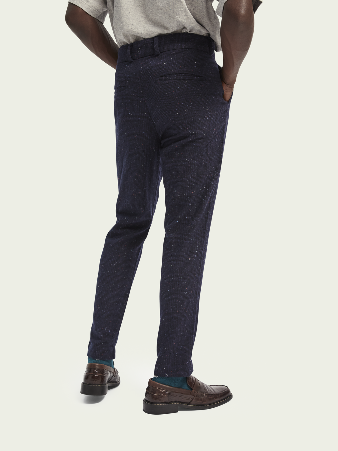 Heren STUART – Chino van een wolmix met stretch | Slim fit