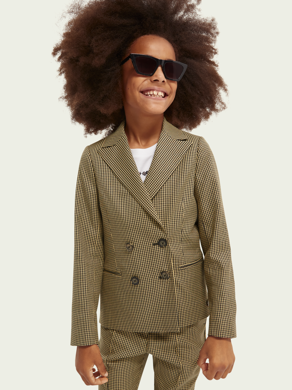 Kids Double-breasted checked blazer