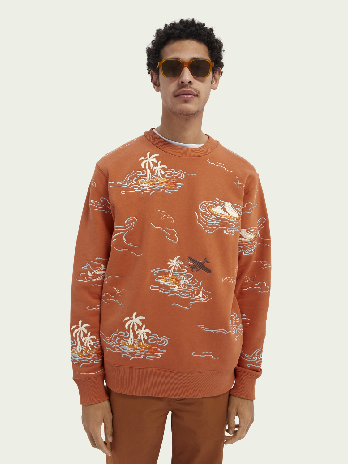 Men All-over embroidered sweater