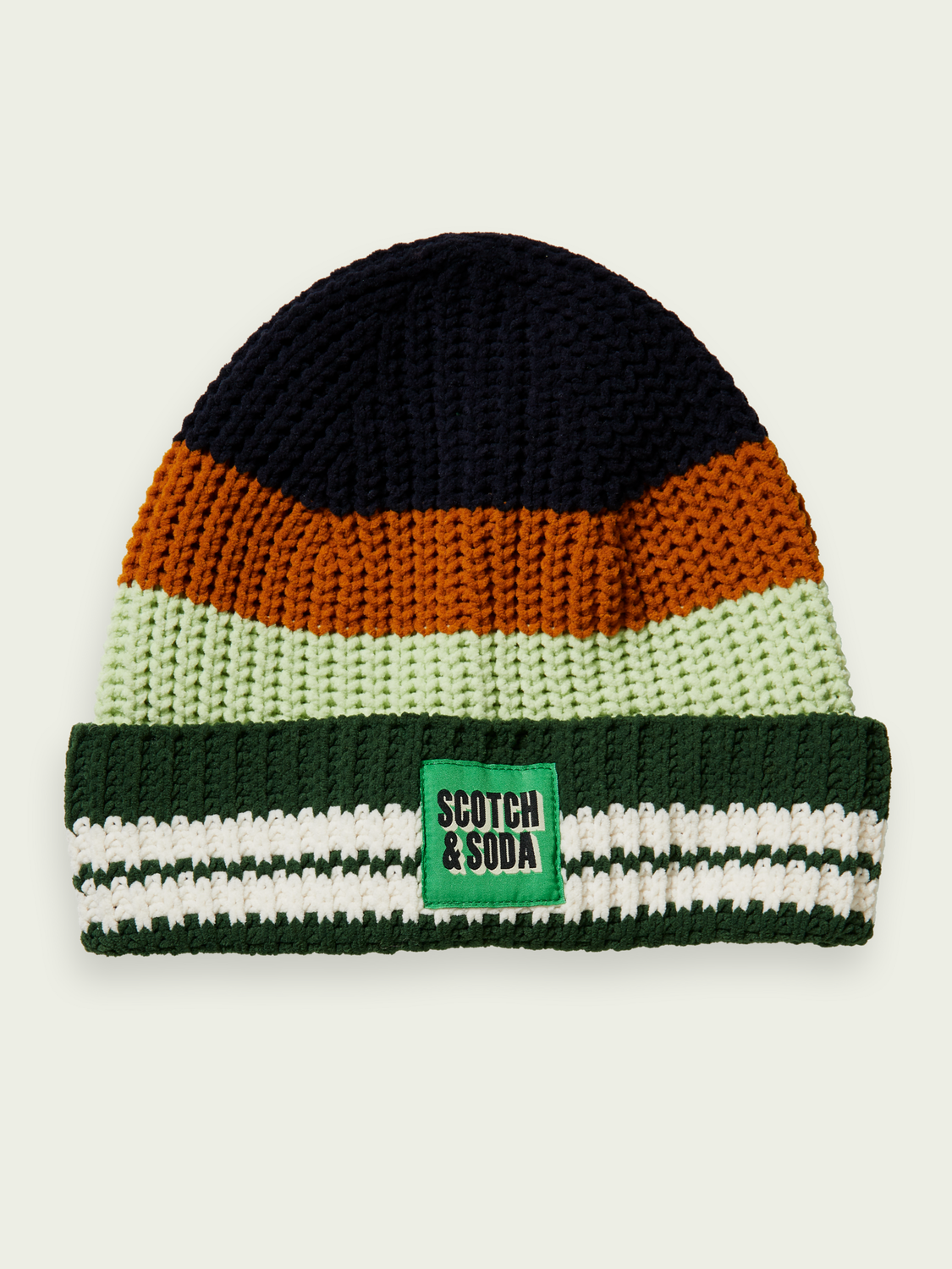Kinder Colour-block chenille beanie in Recycled fibres