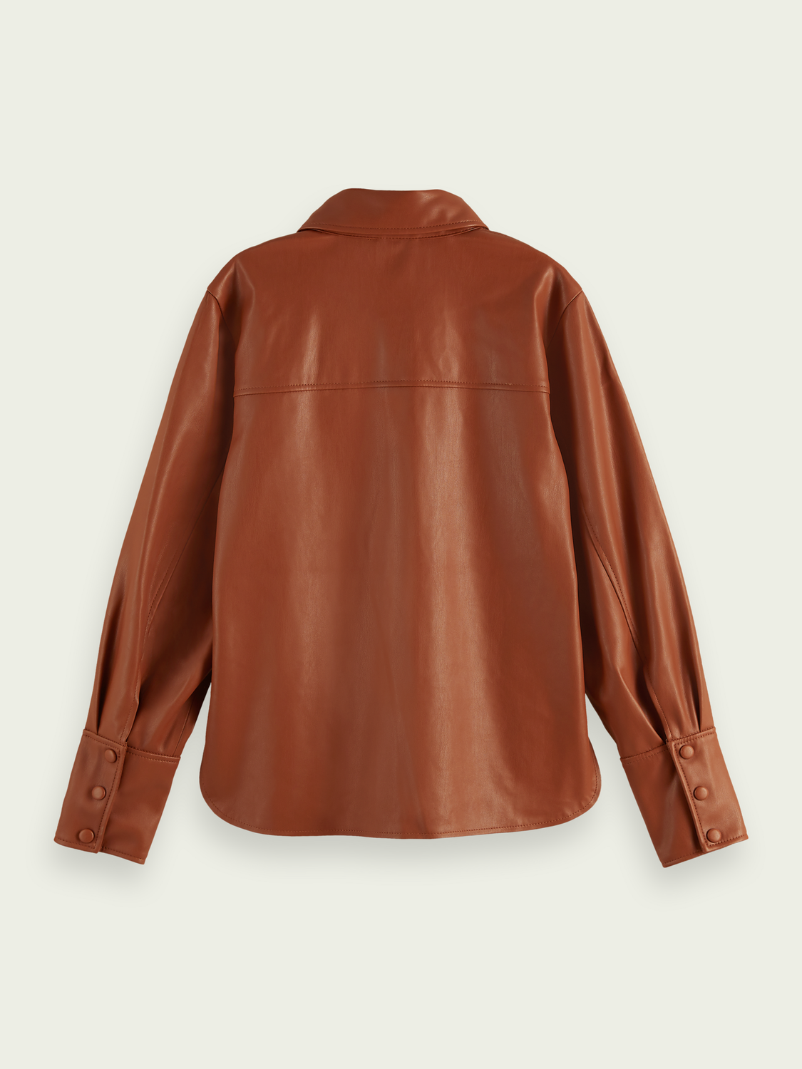 Women Fitted faux-leather button-up shirt
