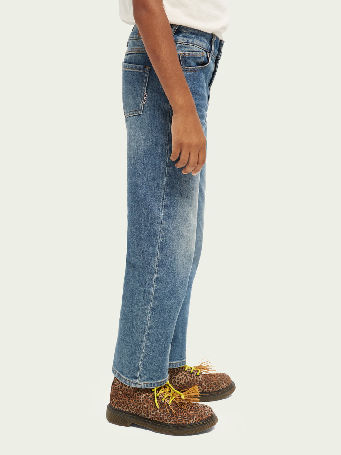 Kids The Sky high-rise straight fit—Blauw essence