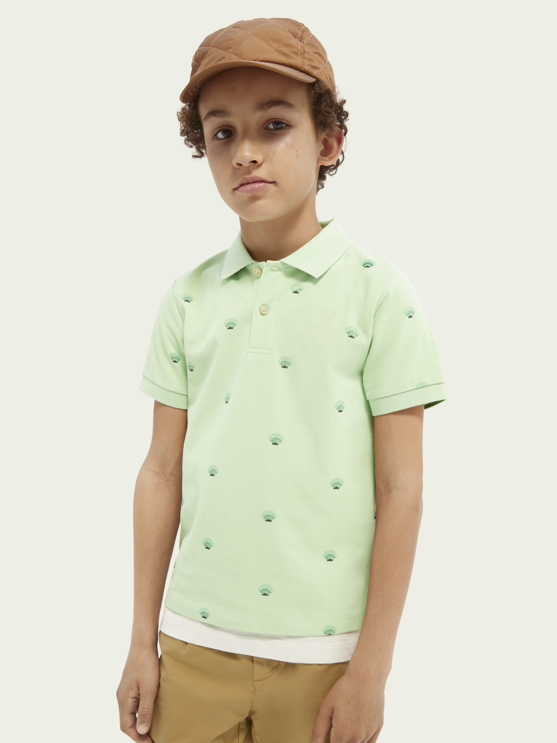 Kids Printed cotton short-sleeved polo